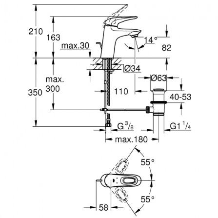 Grohe Eurostyle Смеситель для раковины S-Size 33558 LS3