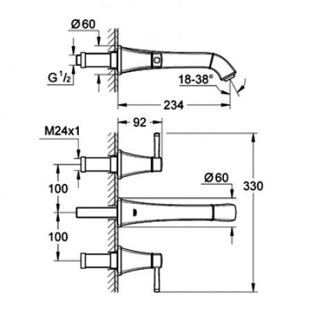 Grohe Grandera Смеситель для раковины на 3 отверстия M-Size, СМ 20415 000
