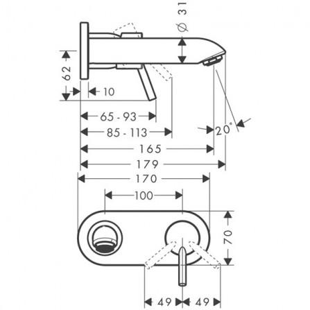 Hansgrohe Talis Смеситель для раковины на 2 отв, излив 165 мм 31618000
