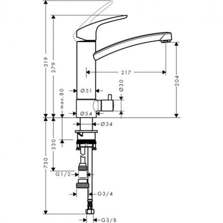 Hansgrohe Focus 220 Смеситель для кухни 31803000