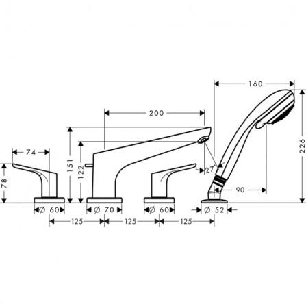 Hansgrohe Focus Смеситель для ванны на 4 отв 31936000