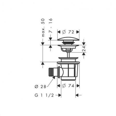 Hansgrohe Сливной набор для ванны Push-Open 50107000