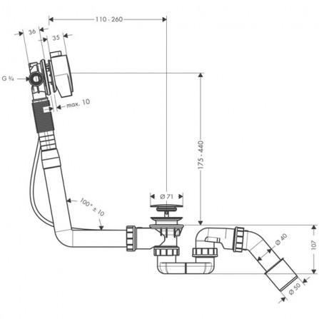 Hansgrohe Exafill S Сточный комплект c функцией налива, комплект 58113000