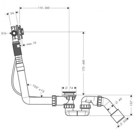 Hansgrohe Exafill S  Сточный комплект c функцией налива, механизм 58115180