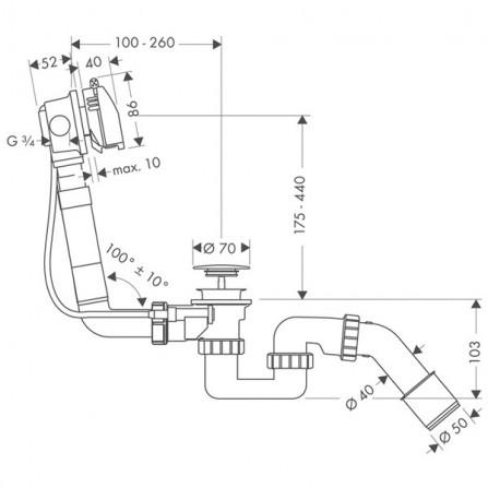 Hansgrohe Exafill S Сточный комплект c функцией налива, комплект 58123000