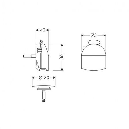 Hansgrohe Exafill Сточный комплект с функцией налива, панель 58127000