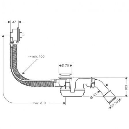 Hansgrohe Flexaplus  Сточный комплект, механизм 58140180