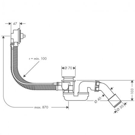 Hansgrohe Flexaplus  Сточный комплект, механизм 58141180