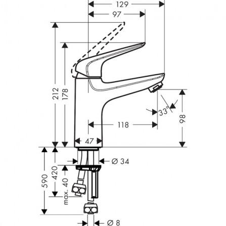 Hansgrohe Novus 100 Смеситель для раковины 71036000