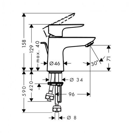 Hansgrohe Talis E 80 Смеситель для раковины 71707000