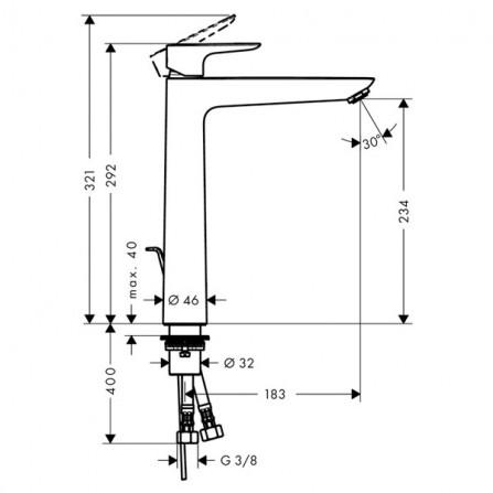 Hansgrohe Talis E 240 Смеситель для раковины 71716000