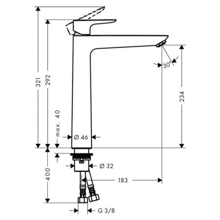 Hansgrohe Talis E 240 Смеситель для раковины 71717000