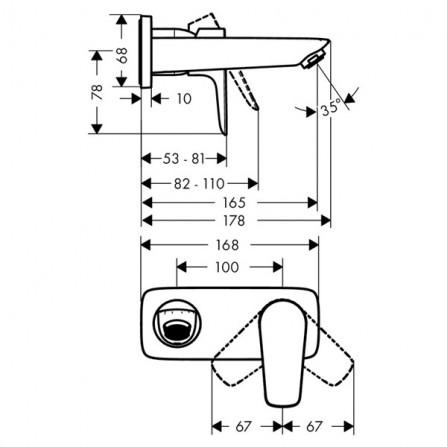 Hansgrohe Talis E Смеситель для раковины на 2 отв, излив 165 мм 71732000