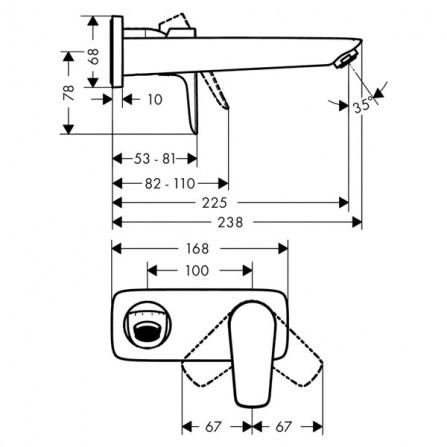 Hansgrohe Talis E Смеситель для раковины на 2 отв, излив 225 мм 71734000