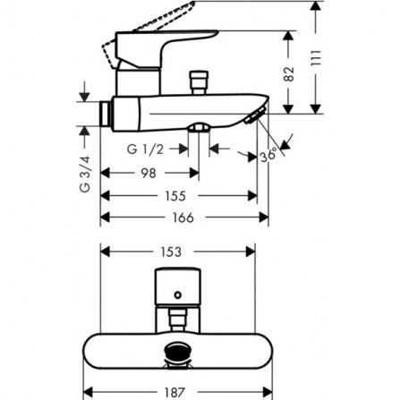 Hansgrohe Talis E Cмеситель для ванны 71741000