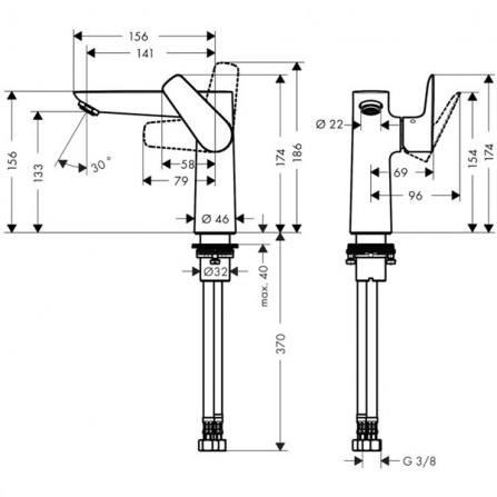Hansgrohe Talis E 150 Смеситель для раковины 71755000