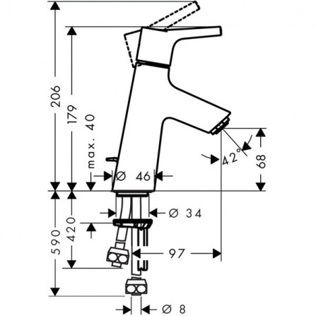 Hansgrohe Talis S 80 Смеситель для раковины 72016000