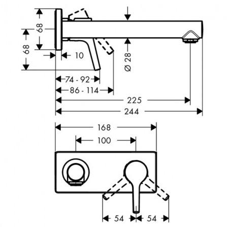 Hansgrohe Talis S Смеситель для раковины на 2 отв, излив 225 мм 72111000
