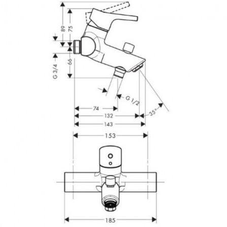 Hansgrohe Talis S Смеситель для ванны 72401000