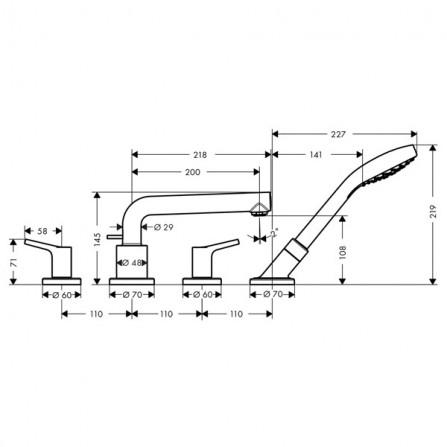 Hansgrohe Talis S Смеситель для ванны на 4 отв 72418000