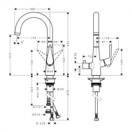 Hansgrohe Talis S 220 Смеситель для кухни, запорный вентиль 72811000