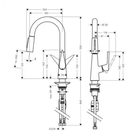 Hansgrohe Talis S 160 Смеситель для кухни, выдвижной излив 72815800