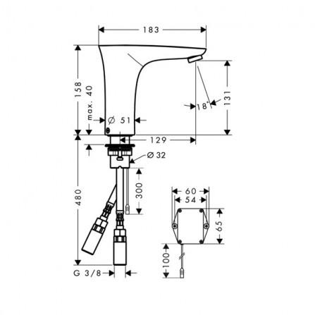 Hansgrohe PuraVida Смеситель для раковины электронный 15170400
