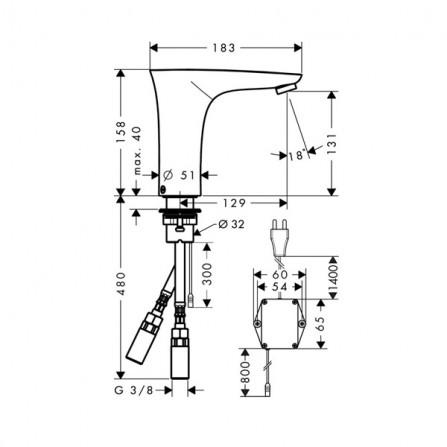 Hansgrohe PuraVida Смеситель для раковины электронный 15172000