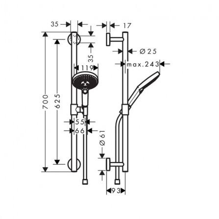 Hansgrohe Raindance Select S 120 Ecosmart/U'Comfort 65 Душевой гарнитур 26321400