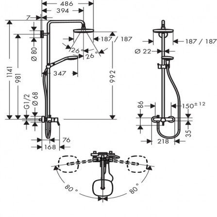 Hansgrohe Croma Select E 180 Душевая система для душа 27258400
