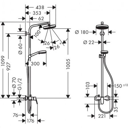 Hansgrohe Crometta 160 1jet Showerpipe Душевая система для душа 27266400