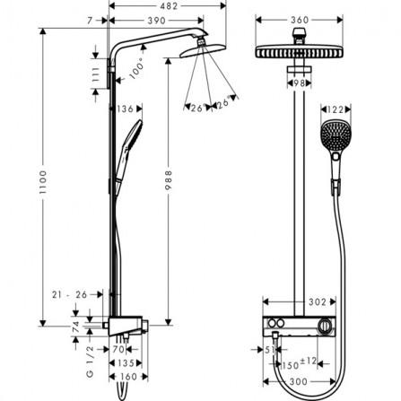 Hansgrohe Raindance Select E 360 1jet ST Showerpipe Ecosmart Душевая система для душа 27287400