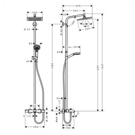 Hansgrohe Crometta E 240 1jet Showerpipe Душевая система для ванны 27298000
