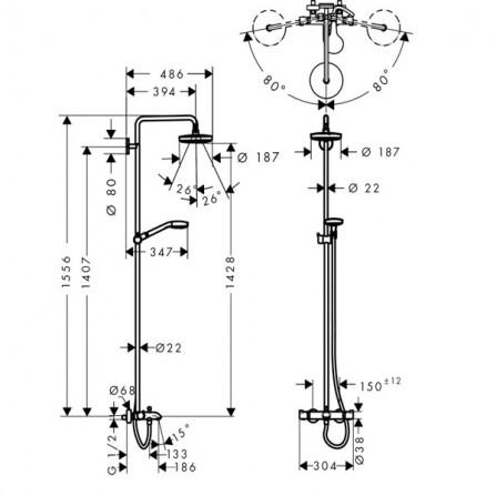 Hansgrohe Croma Select S 180 2jet Showerpipe Душевая система для ванны 27351400