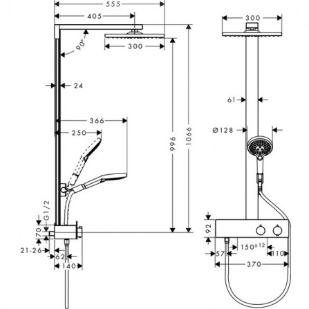 Hansgrohe Raindance E 300 1jet Showerpipe 350 ST Ecosmart Душевая система для душа 27362000