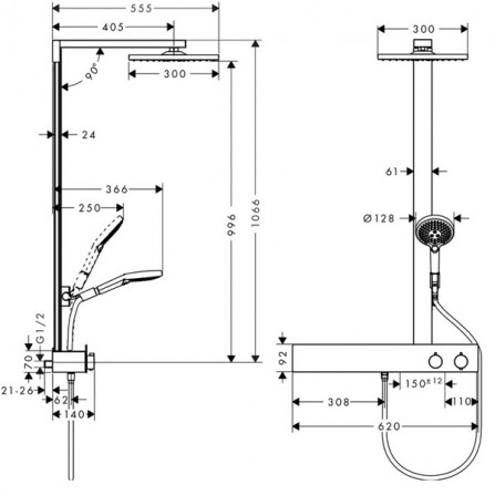 Hansgrohe Raindance E 300 1jet Showerpipe 600 ST Душевая система для душа 27363000