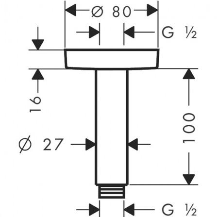 Hansgrohe Кронштейн потолочный S, 100 мм 27393000