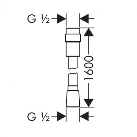 Hansgrohe Isiflex Шланг 1,60 м с регулировкой напора 28248000