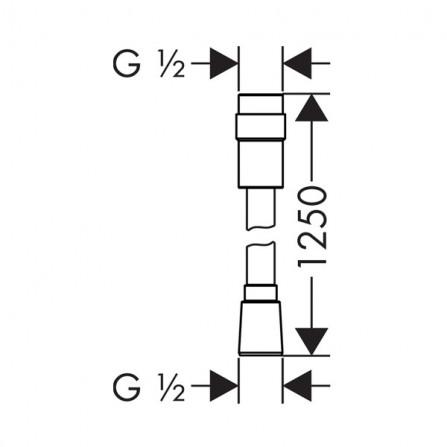 Hansgrohe Isiflex Шланг 1,25 м с регулировкой напора 28249000