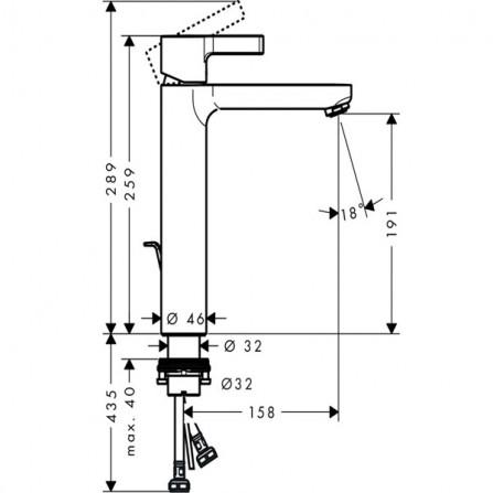 Hansgrohe Metris S 190 Смеситель для раковины 31021000