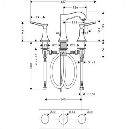 Hansgrohe Metris Classic Смеситель для раковины на 3 отв 31073000