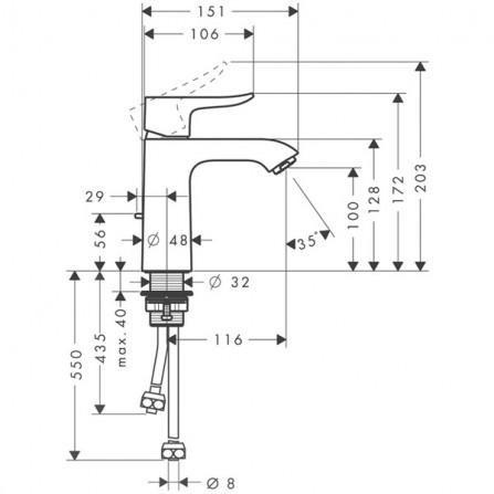 Hansgrohe Metris 110 Смеситель для раковины 31074000