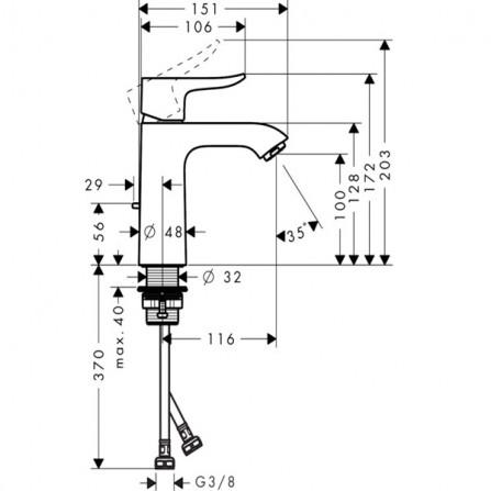 Hansgrohe Metris 110 Смеситель для раковины 31080000