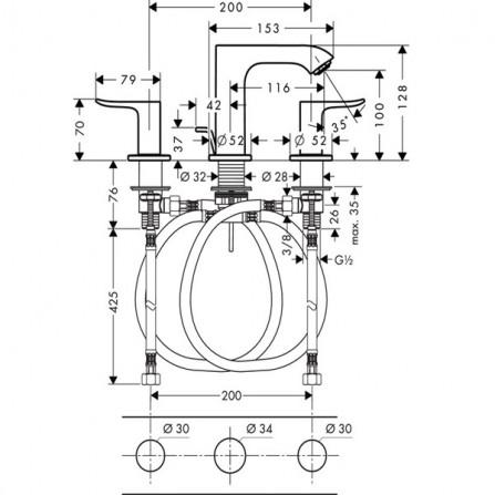 Hansgrohe Metris Смеситель для раковины на 3 отв 31083000