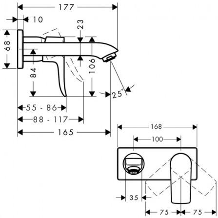 Hansgrohe Metris Смеситель для раковины на 2 отв, излив 165 мм 31085000