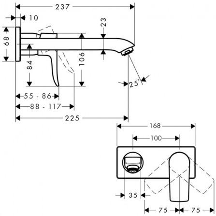 Hansgrohe Metris Смеситель для раковины на 2 отв, излив 225 мм 31086000