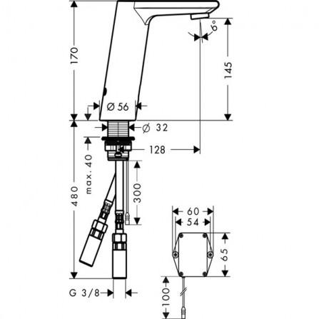 Hansgrohe Metris S Смеситель для раковины электронный 31101000