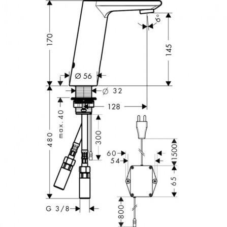 Hansgrohe Metris S Смеситель для раковины электронный 31103000