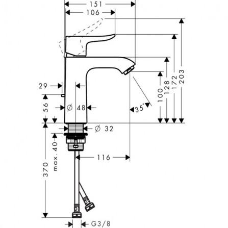 Hansgrohe Metris 110 Смеситель для раковины 31121000