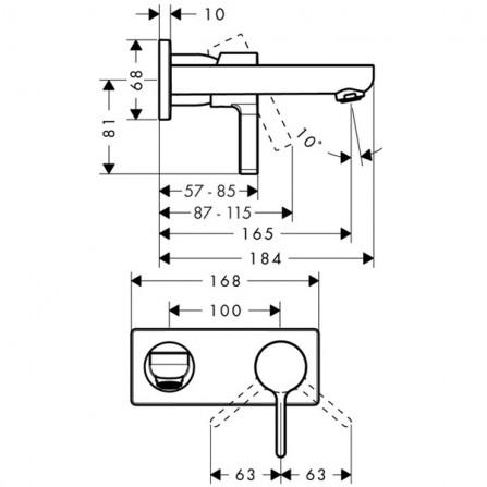 Hansgrohe Metris S Смеситель для раковины на 2 отв, излив 165 мм 31162000